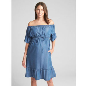 Gap Maternity New Denim Off-Shoulder Dress